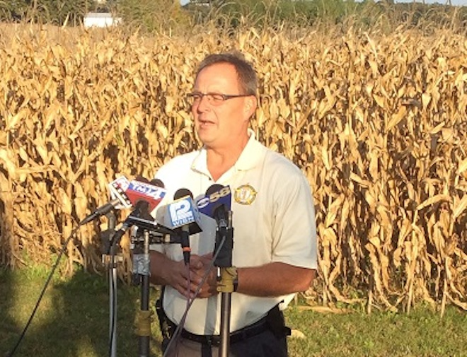 Suspect has been hiding out in cornfields