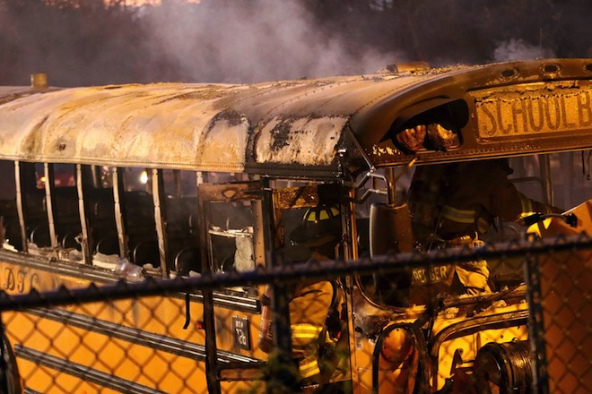 Fire damages three school buses