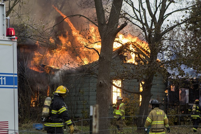 Three-alarm blaze destroys Brighton home