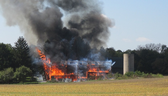 Fire destroys Town of Brighton barn